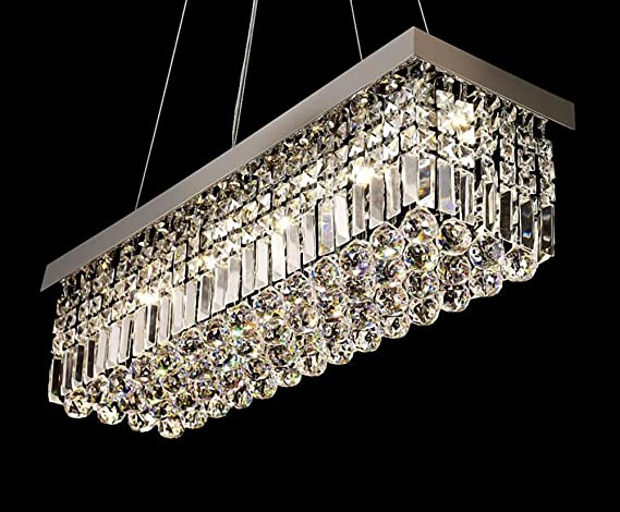 Siljoy modern rectangular crystal chandelier lighting dining room siljoy modern rectangular crystal chandelier lighting dining room pendant lighting l80 x w25 x h25 cm aloadofball Image collections