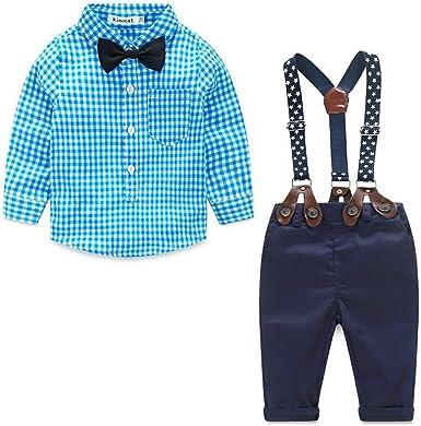 Odziezet Pantalones con Tirantes Bebe Niño Niña Camisa de Cuadros Conjunto Trajes de Bautizo Boda Fiesta: Amazon.es: Ropa y accesorios