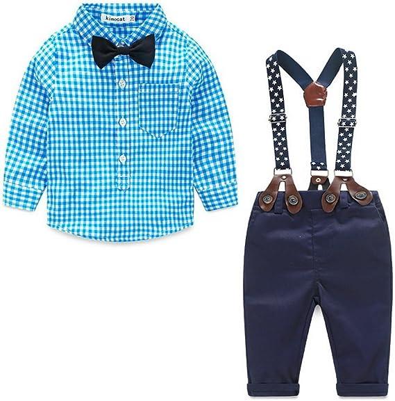 Odziezet Pantalones con Tirantes Bebe Niño Niña Camisa de Cuadros ...