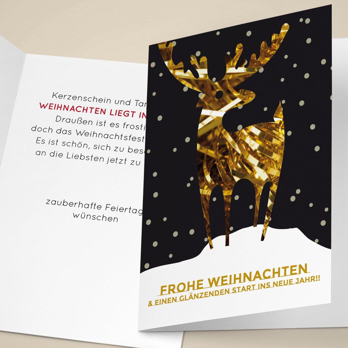 Gewaltig Edle Weihnachtskarten Basteln Beste Wahl 20er Set Unternehmen Mit Goldigem Hirsch Im