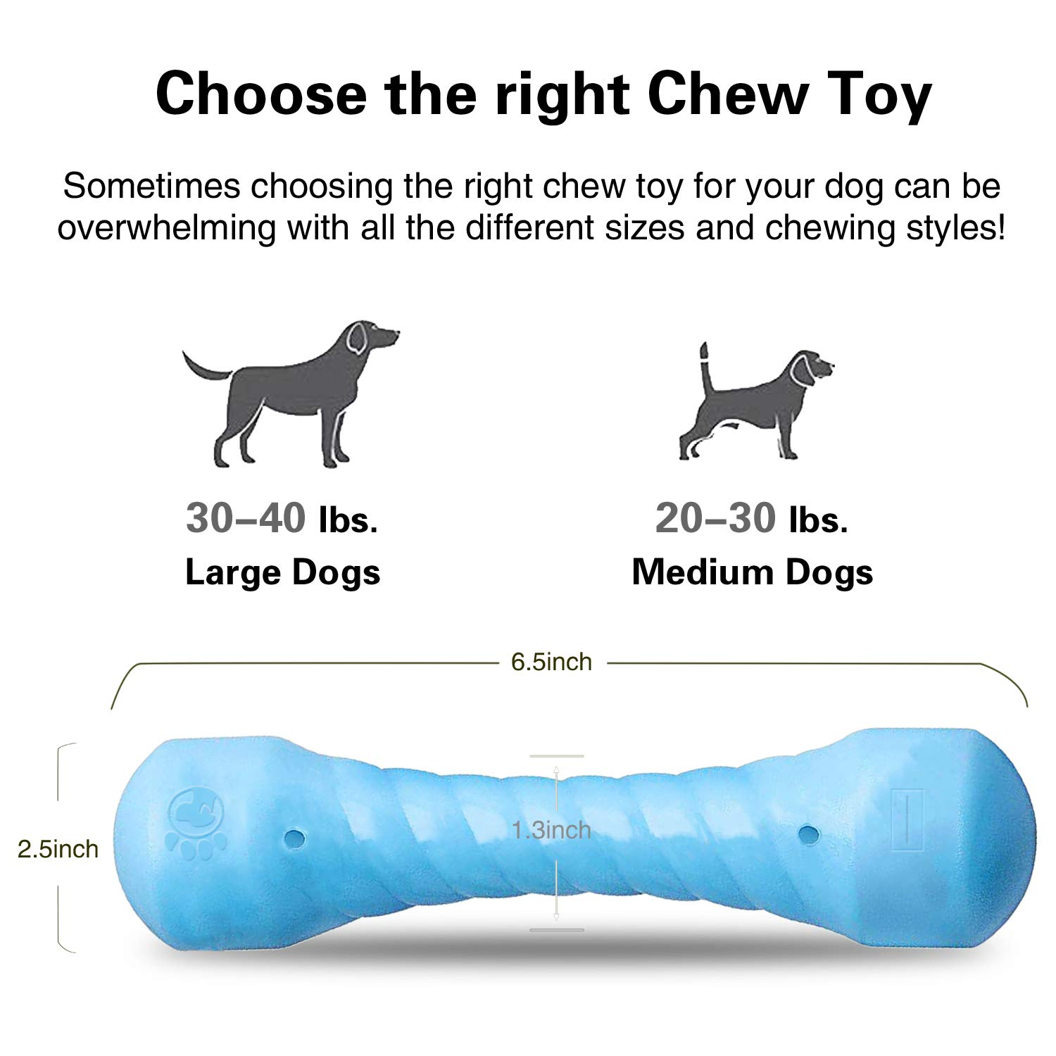 ucho Chew Dog Toys for Aggressive Chewers, Best Indestructible Tough Rubber Dog Chew Toys for Medium and Large Chewers Perfects for Interactive & Training & Cleaning Teeth