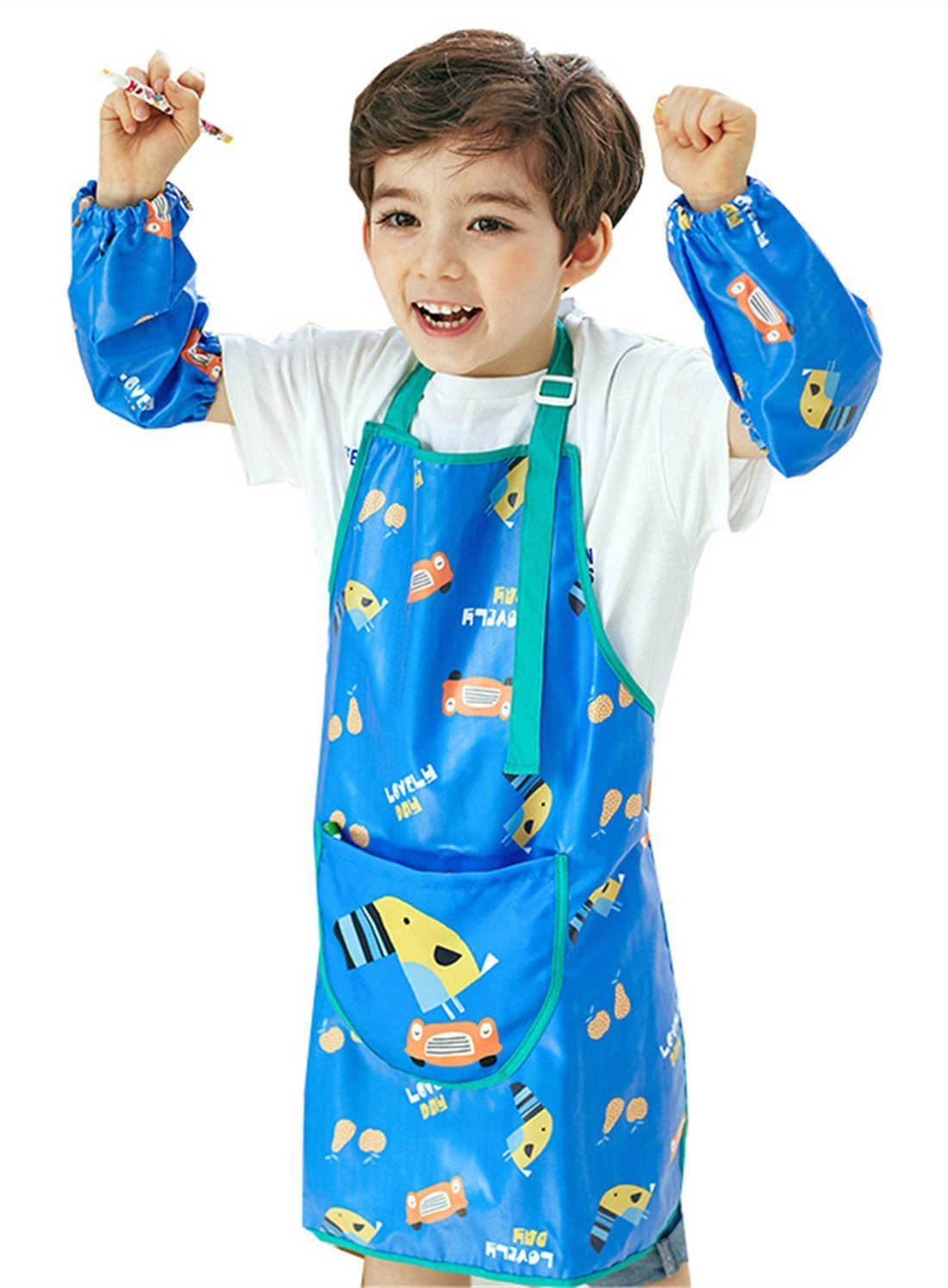 Chilsuessy Children Kids Waterproof Smocks for Painting, with Sleeves, Yellow Dog, XL/Body Height 130-145cm