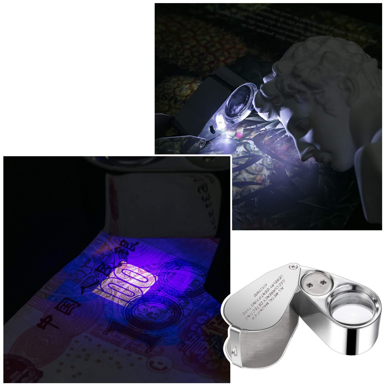 2 Pezzi 40X Gioielliere Illuminato LED UV Lente dIngrandimento per Gioielleria con 2 Custodia Morbida e 2 Panno per Occhiali Morbido per Led Rilevazione di Valuta Identificazione dei Gioiellieri
