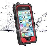 iPhone5s ケース iphone SE ケース ZVE 防水ケース アイフォン5ケース 多機能スマホケース 防塵 耐衝撃カバー 指紋認識可 液晶保護フィルム付き (iphone5/5S/SE レッド)