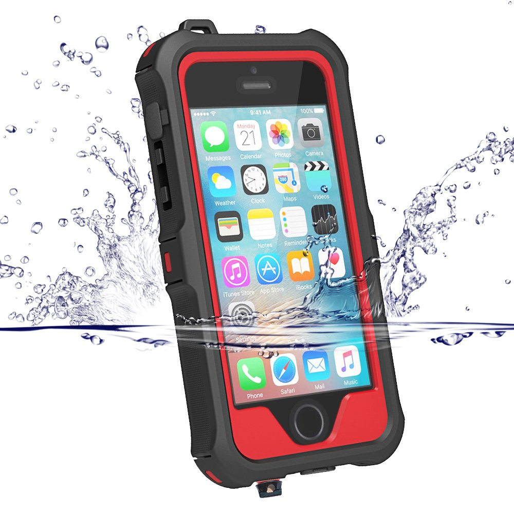 iPhone 5 5S SE Waterproof Case Compatible, ZVEproof IP68 iPhone SE 5S 5 Waterproof Shockproof Dirtproof Snowproof Screen Protector Cover for Snow Skiing Swimming (Red) 4326915798