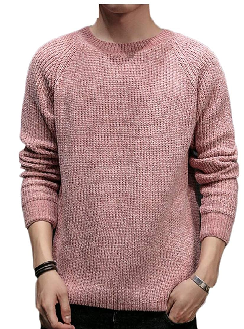 Generic Mens O Neck Solid Blouse Pullover Sweater Long Sleeve Knitted Top