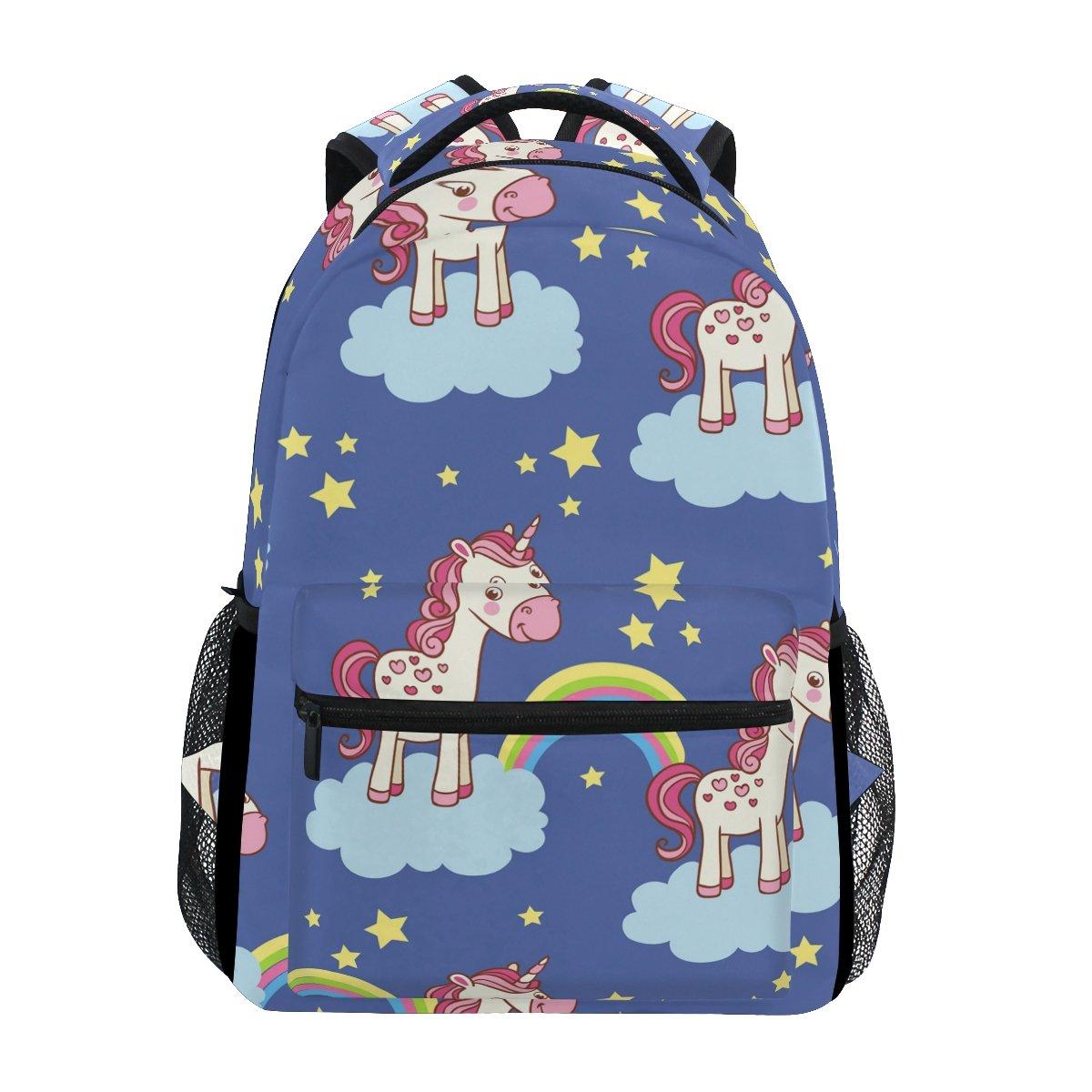 TIZORAX Dessin animé Unicorn Rainbow Bleu Sac à dos Sac d'école pour randonnée Voyage Sac à dos