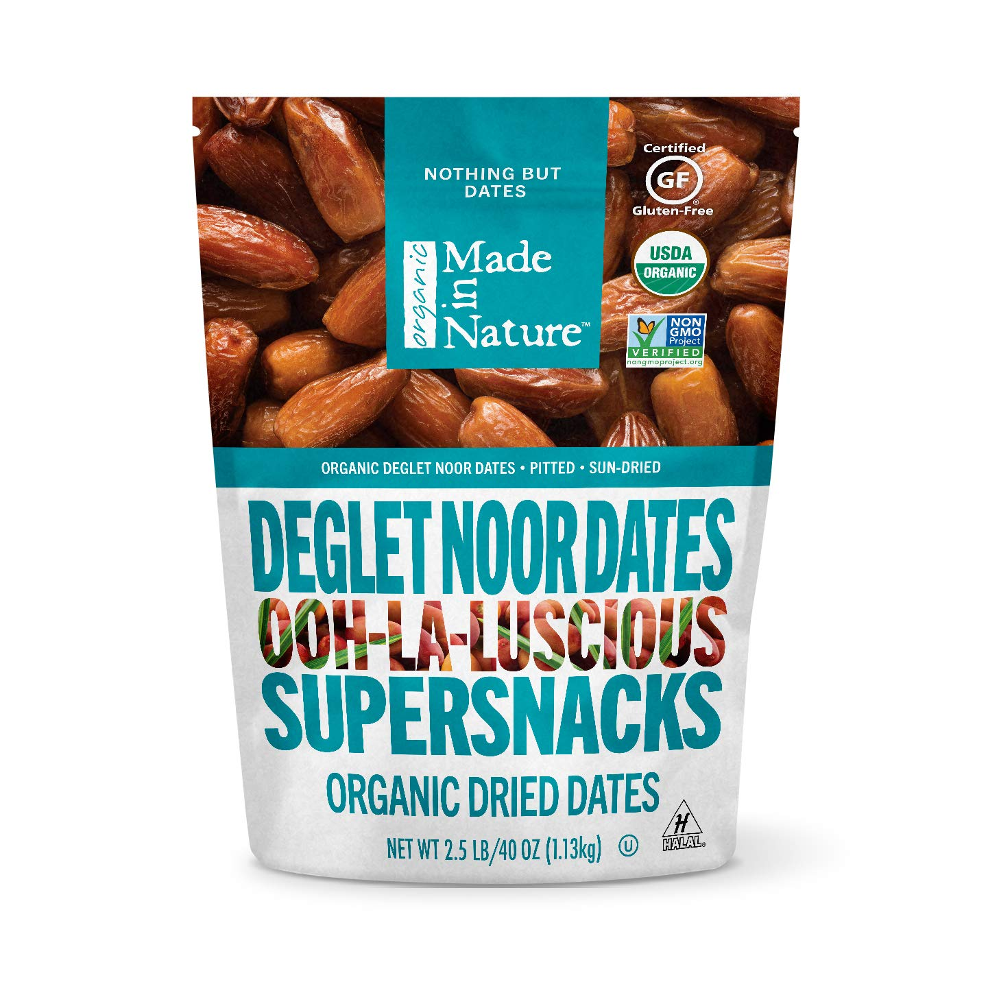 Made in Nature Organic Dried Fruit, Deglet Noor Dates, 40oz Bag – Non-GMO, Unsulfured Vegan Snack