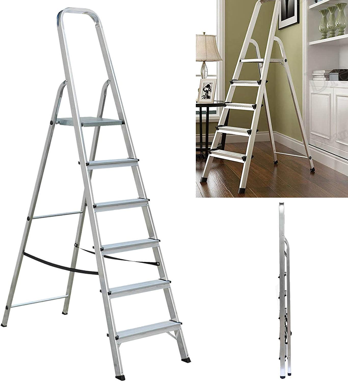 Escalera de aluminio plegable antideslizante de 6 peldaños, con hilo ancho, antideslizante, para bricolaje, escaleras de seguridad para el hogar: Amazon.es: Bricolaje y herramientas