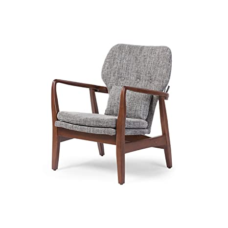 Peachy Baxton Studio Wholesale Interiors Rundell Mid Century Modern Retro Fabric Upholstered Leisure Accent Chair In Walnut Wood Frame Large Grey Squirreltailoven Fun Painted Chair Ideas Images Squirreltailovenorg