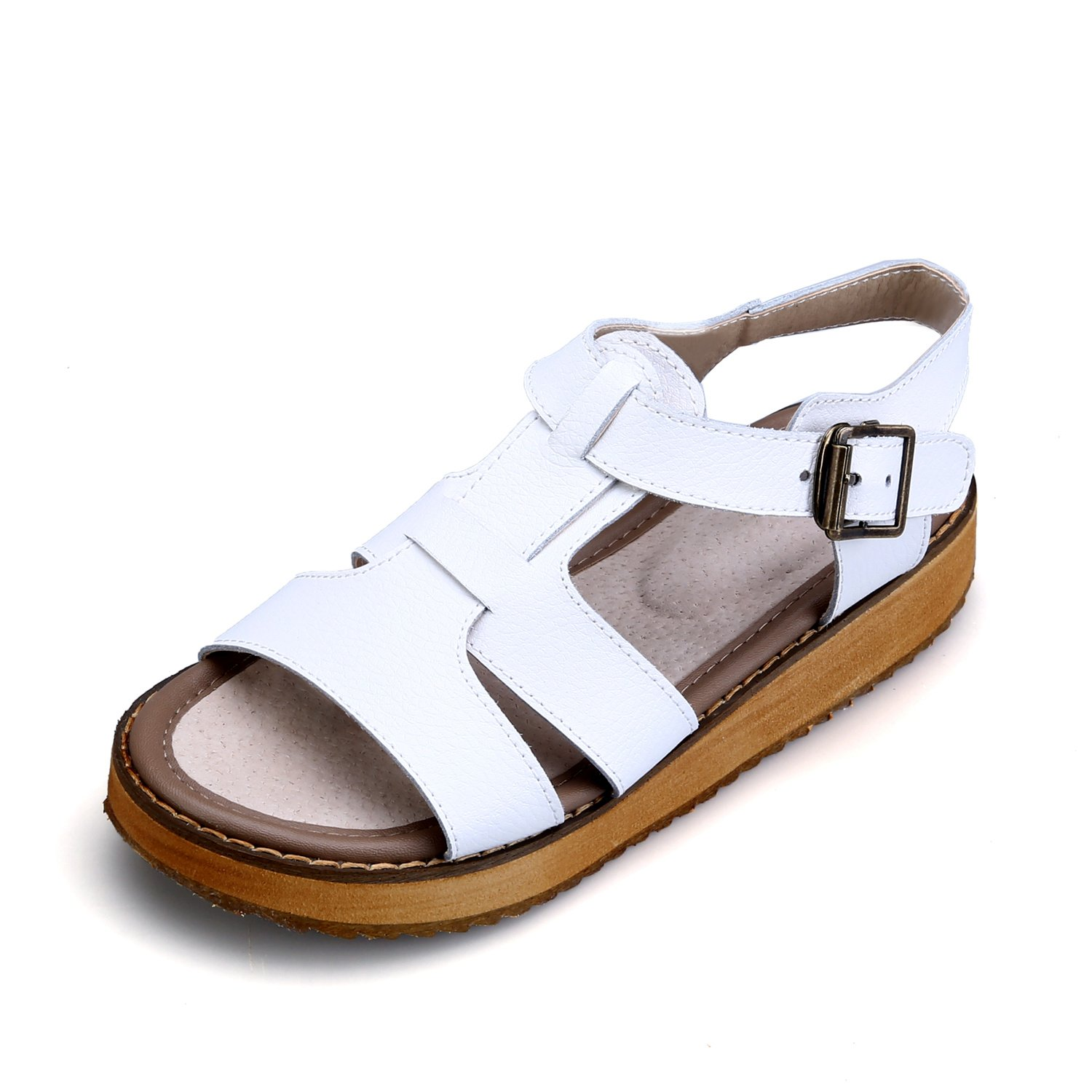 Smilun Girl's Fashion Strappy Roman Sandals Wedge Sandals Flip Flops Thongs Open Toe Sandals Flip Flops Roman Sandal Summer Sandals White US6