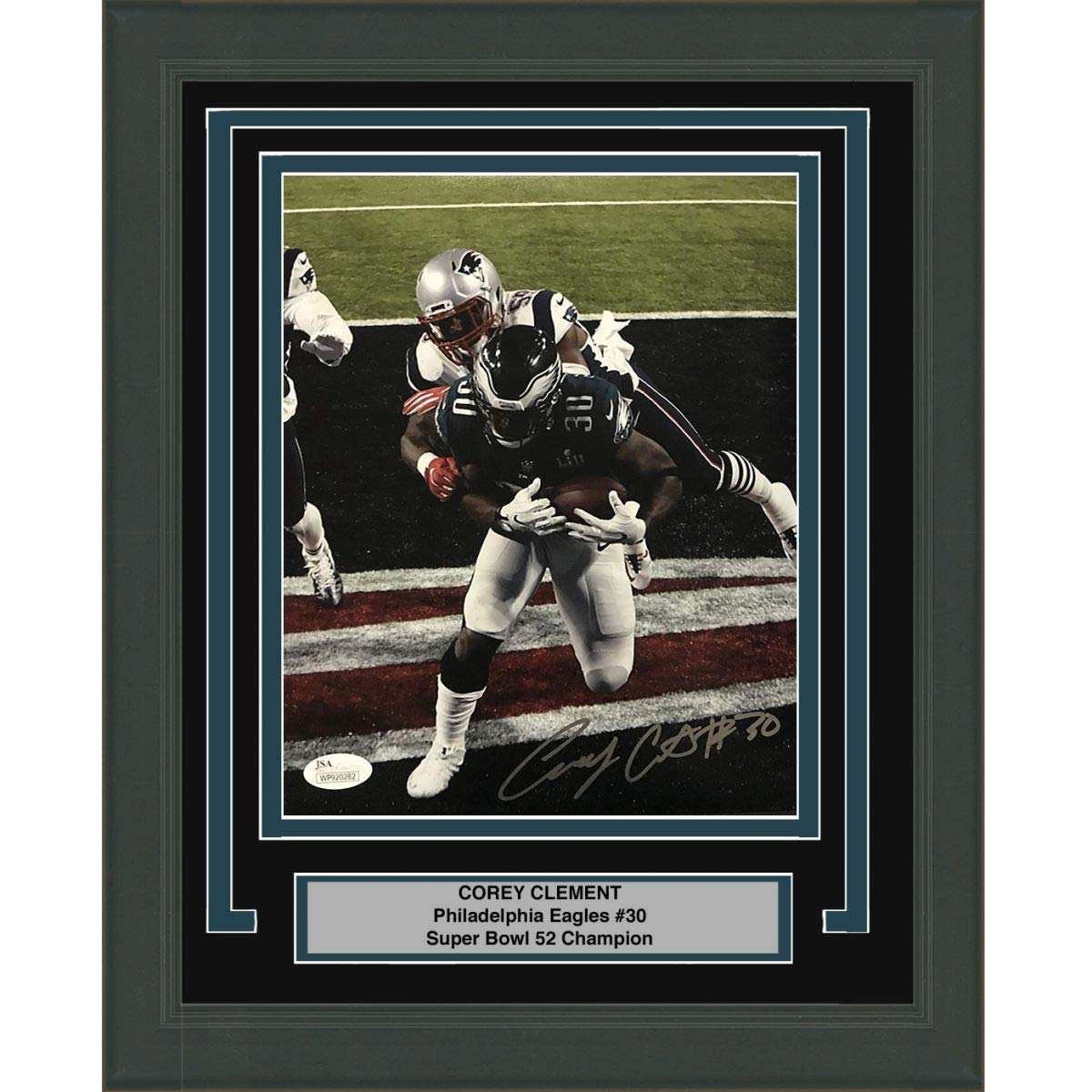 f52cb97b8e4 Framed Autographed/Signed Corey Clement Philadelphia Eagles Super Bowl LII  52 TD Champions 8x10 Football Photo JSA COA #1 at Amazon's Sports  Collectibles ...