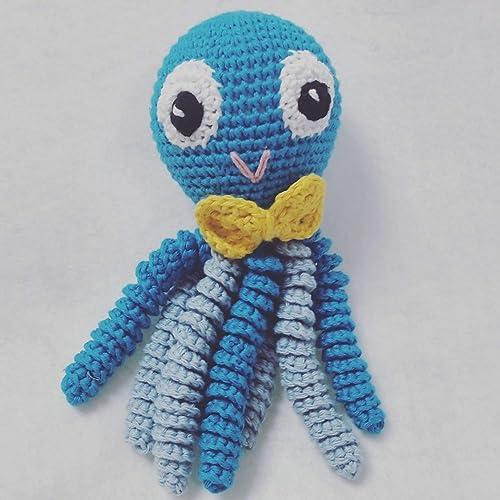 Pulpo amigurumi para recién nacido en color azul con pajarita ...