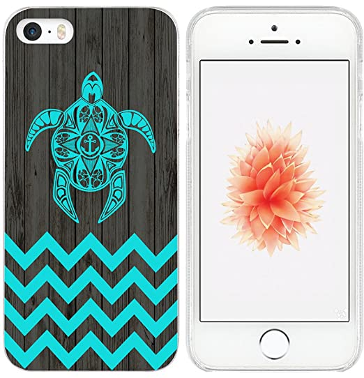 official photos d0c8c 74d7c Cover for iPhone 5S Turtle/IWONE TPU Rubber Transparent Protector  Shockproof Silicone Replacement for iPhone 5 / 5S / SE + Chevron Animal Blue