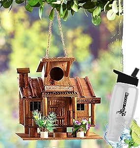 HomeCricket Regalo Included- Backyard Decorativo Madera Creativo Birdhouses única casa para pájaros + Bono Botella de Agua: Amazon.es: Jardín