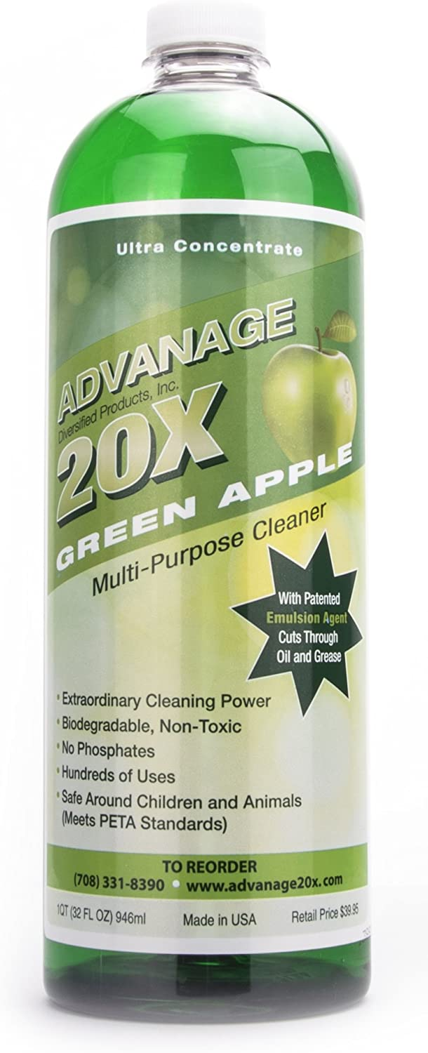 ADVANAGE the Wonder Cleaner 20X Multi-Purpose Ultra Concentrated Formula, Makes 20 Quarts, Eco Friendly, Child and Pet Safe, Non Toxic and Biodegradable, Green Apple Scented, 32 Fluid Ounce 1 Quart