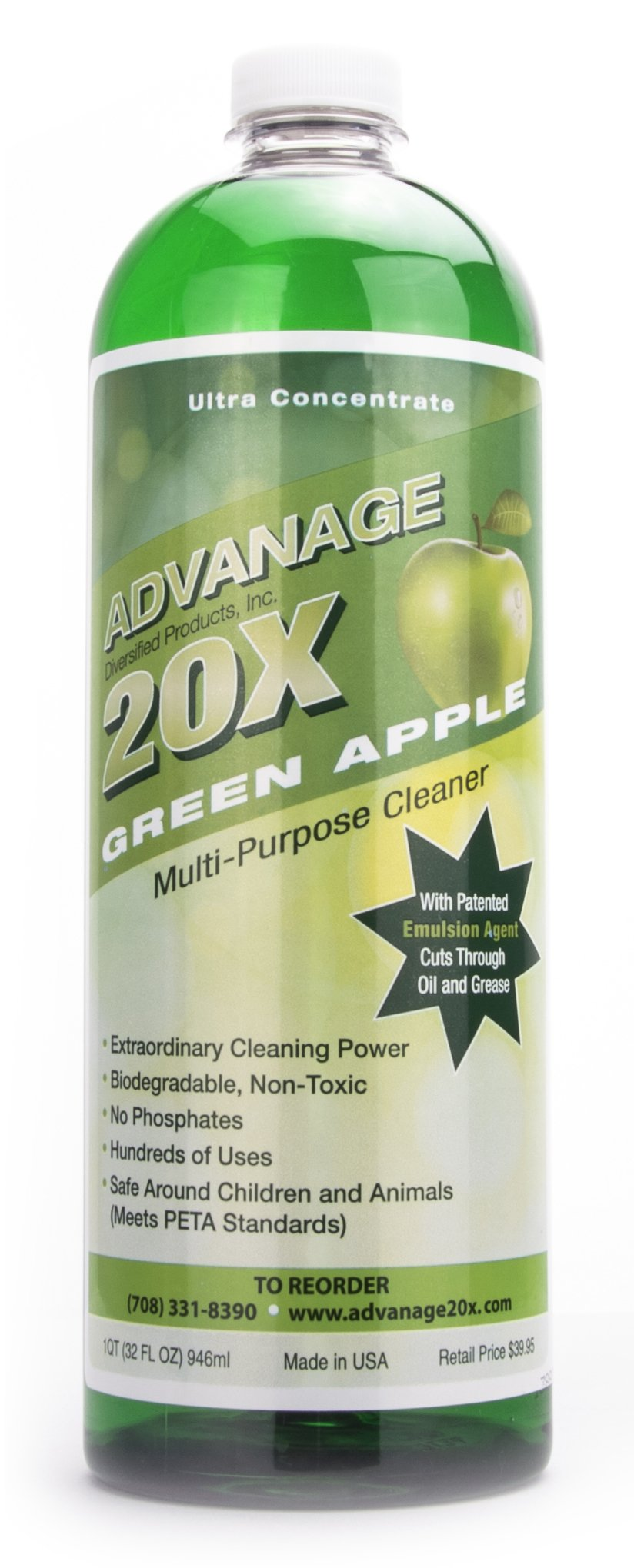 ADVANAGE the Wonder Cleaner 20X Multi-Purpose | Ultra Concentrated Formula, Makes 20 Quarts | Eco Friendly | Child and Pet Safe | Non Toxic & Biodegradable | Green Apple Scented | 32 fl oz Bottle