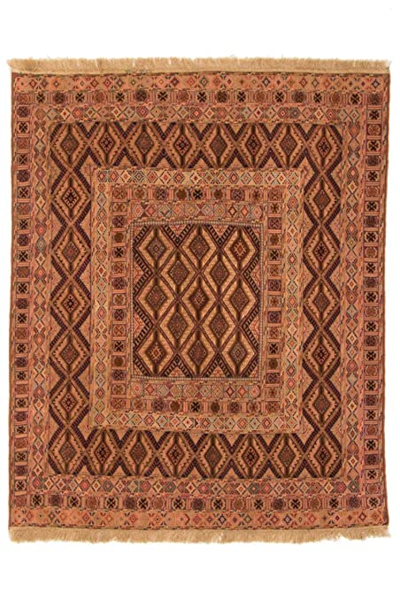 Kelim Nimbaft 179x145 Tapis Oriental Marron/Orange Noués à ...