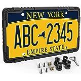 LOFTEK Silicone License Plate Frame - Car License Plate Frame with Stainless Steel Screws - Black