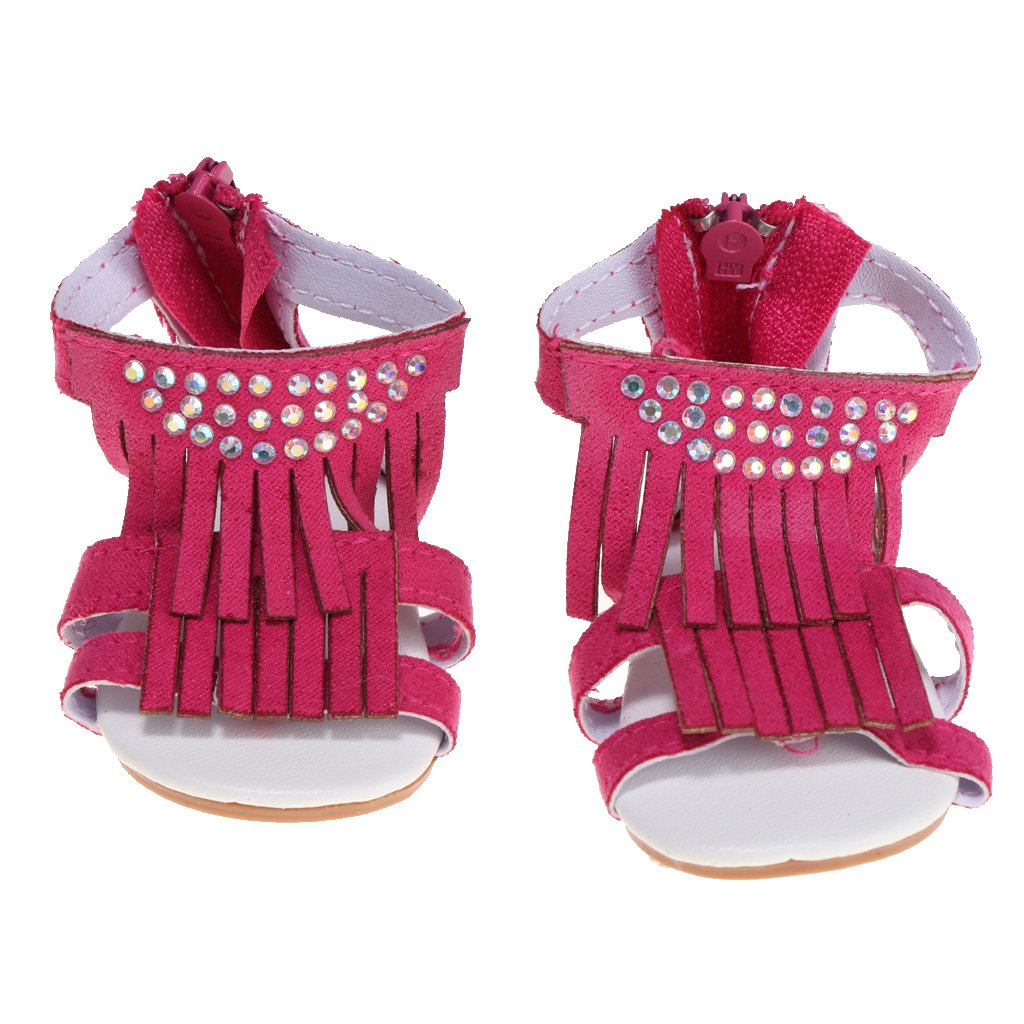 Homyl Rose Red Zipper Tassel Sandal Shoes for 18inch American Girl Our Generation Journey Dolls Clothes Accessory