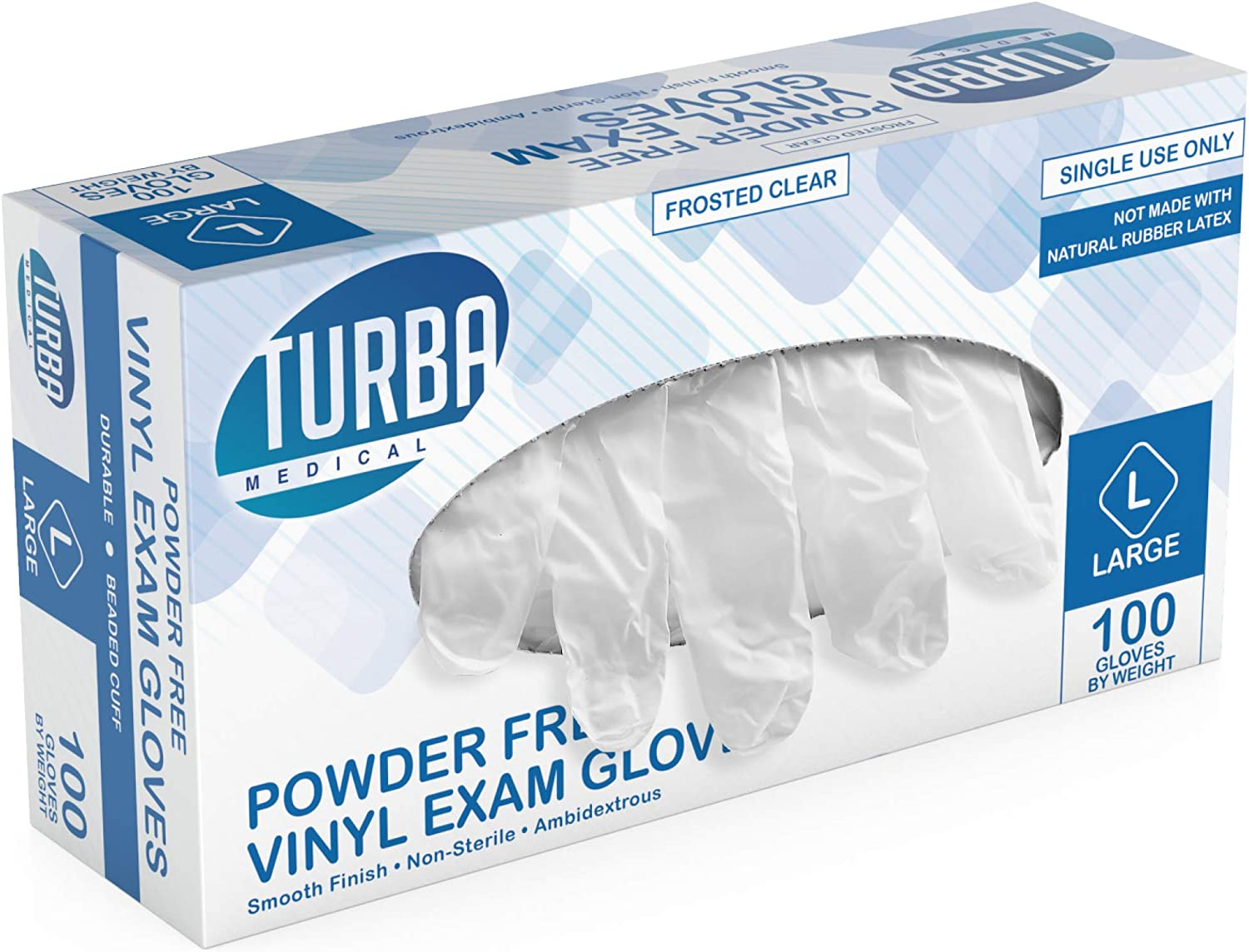 Disposable Vinyl Gloves, 100 Size Large Non Sterile, Powder Free, Latex Free - Examination Gloves, Cleaning Supplies, Kitchen and Food Safe - Ambidextrous - by Turba