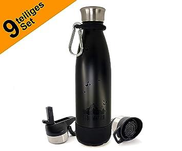 Storm Horn acero inoxidable Botella con accesorios, 500 ml, 3 Cierres, mosquetón, pajitas: Amazon.es: Deportes y aire libre