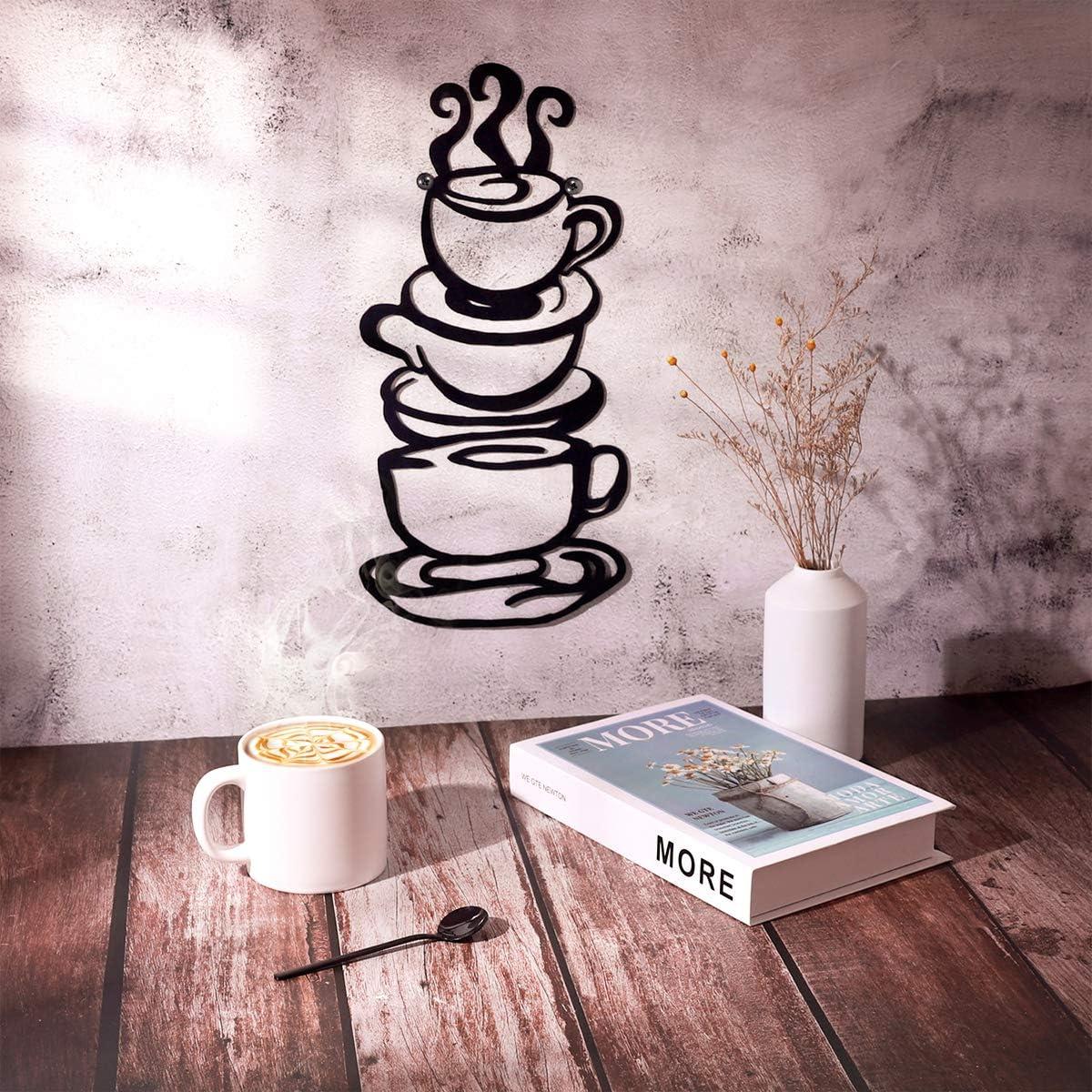 Farmhouse Kitchen Restaurant Decor Coffee Bar Sign Coffee Cup Metal Wall Art Black