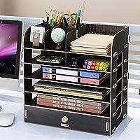 Desktop Wooden Storage Rack Multi-Layer Drawers Storage Box File Shelf Bookshelf Creative File Box Pens Pencils Holder…