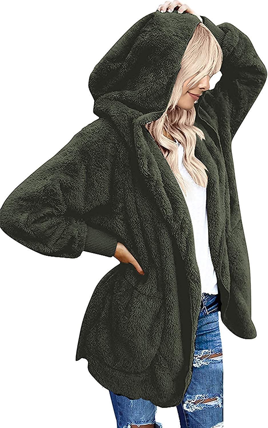 Womens Fashion Long Sleeve Zip Up Sherpa Fleece Cardigan Coat Jacket Pockets