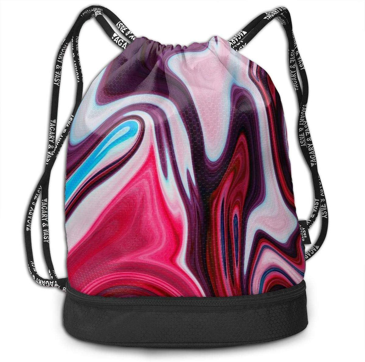 Drawstring Backpack Fluid Painting Rucksack