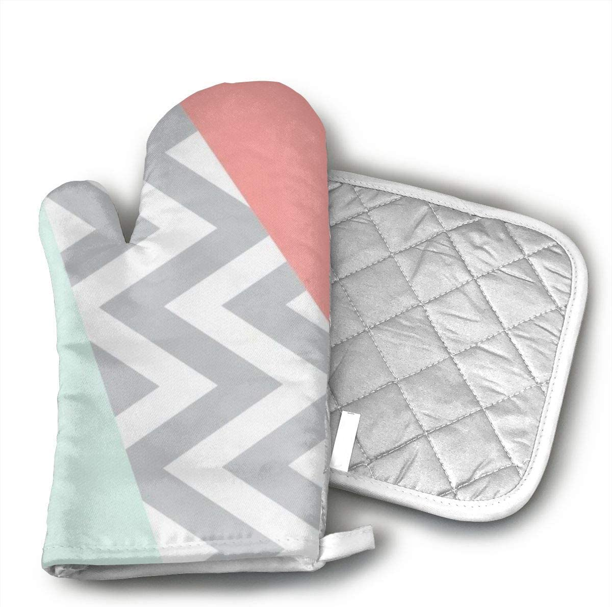 Sjiwqoj8 Original Mint & Coral Chevron Block Kitchen Oven Mitts,Oven Mitts and Pot Holders,Heat Resistant with Quilted Cotton Lining,Cooking,Baking,Grilling,Barbecue