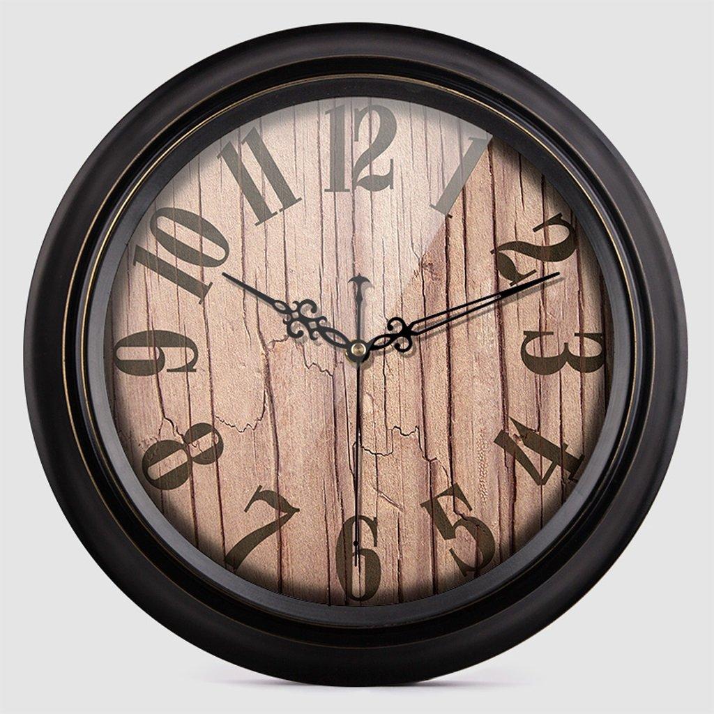 掛け時計 ウォールクロックレトロサイレントウッドグレインリビングルームウォールチャートホームインテリアウォール円形の時計ストーンベッドルーム Rollsnownow (色 : A, サイズ さいず : 14 inches) B07BMYTH9D 14 inches A A 14 inches