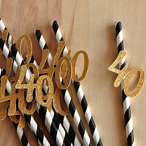 Image Unavailable Not Available For Color 40th Birthday Decoration Straws 10CT Black With Gold