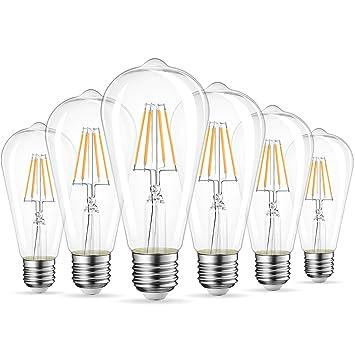 LVWIT Bombillas de Filamento ST64 LED E27 (Casquillo Gordo) - 4W equivalente a 40W