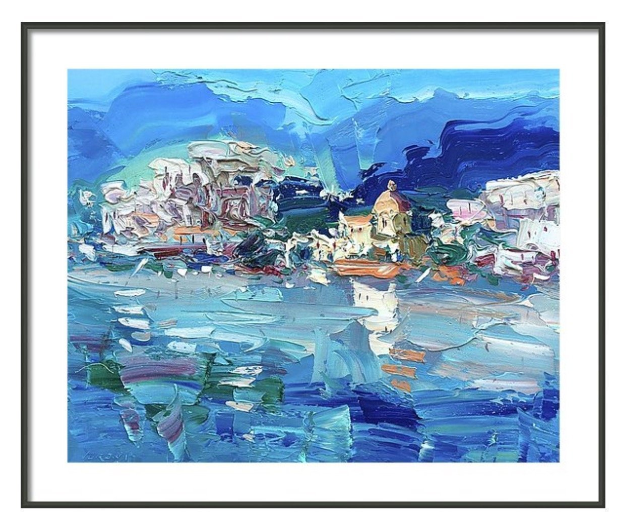 Amazon.com: Abstract Positano Art Print Paper and Canvas (8x10 11x14 ...