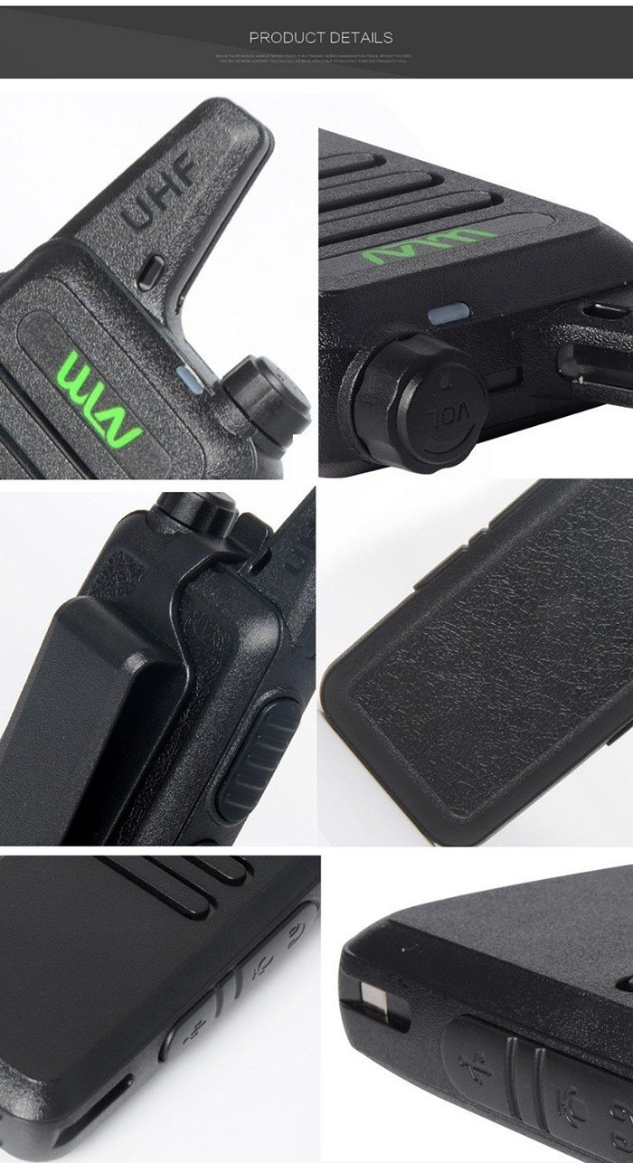 Mini Walkie-Talkies WLN KD-C1 UHF400-470MHz Long Range 2 Way Portable Ham Radios with Eearpiece