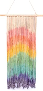 """Simpkeely Macrame Wall Hanging, Rainbow Colorful Handmade Woven Cotton Wall Art Boho Bohemian Home Décor for Bedroom, Dorm Room, Living Room, Apartment, 16"""" W x 30"""" L"""