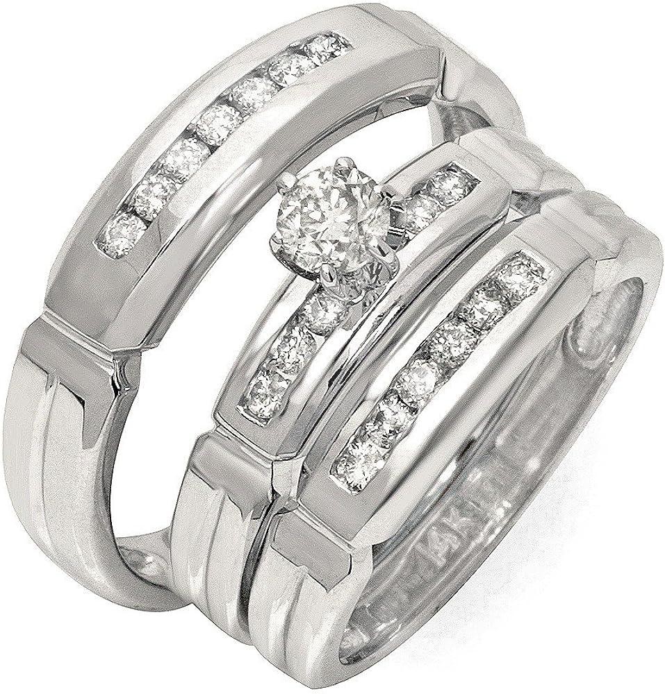 Lujosos anillos de matrimonio trio de media quilate con diamante ...
