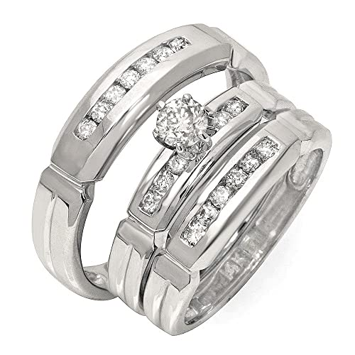 Trío de anillos de matrimonio de medio quilate diamante redondo en oro