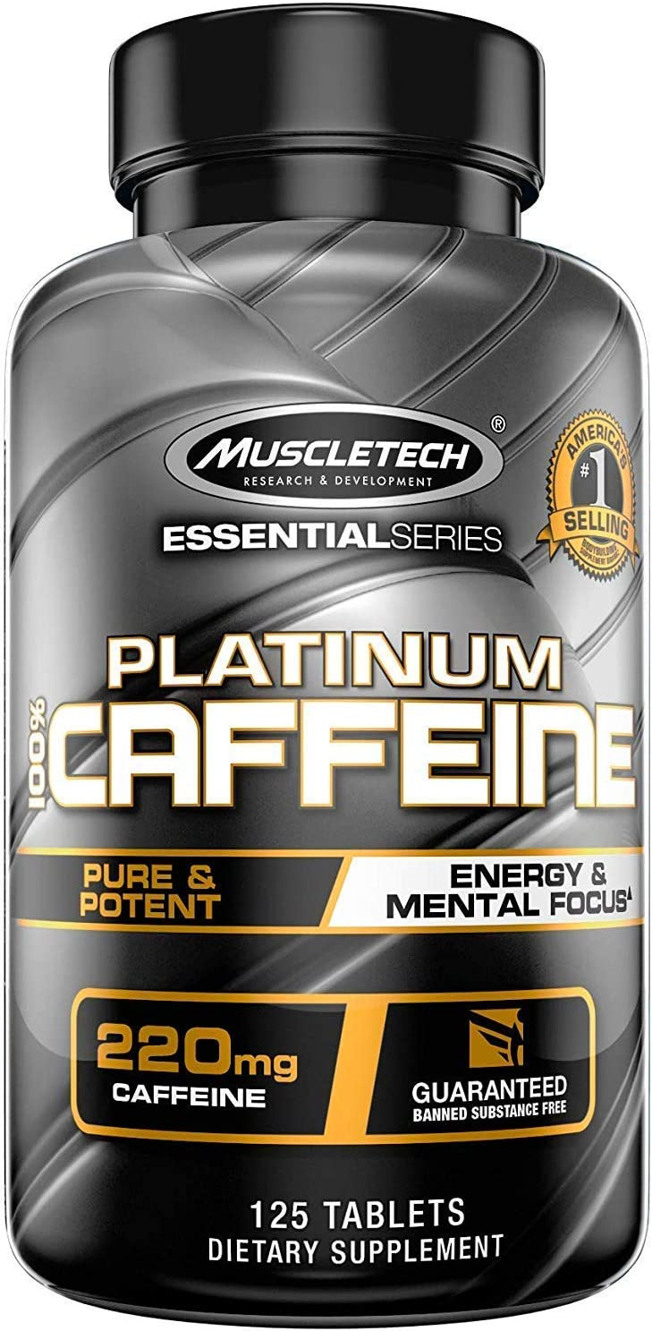 Muscletech Platinum 100% Caffeine Pill, Unflavored, 125 Count: Health & Personal Care