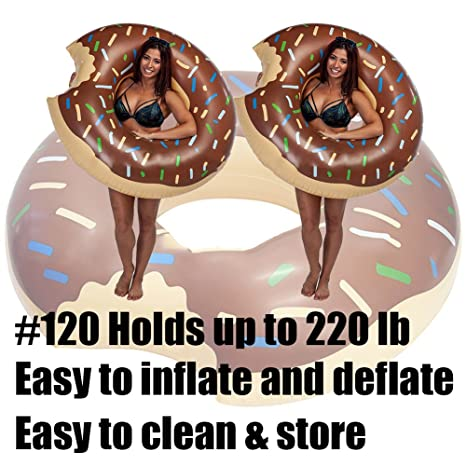 Amazon.com: Yarssir Giant Donut Pool Float, Funny Inflatable Vinyl Summer Pool Beach Toy, Chocolate Strawberry Donut Swim Ring FLOTADOR for Kids and Adults, ...