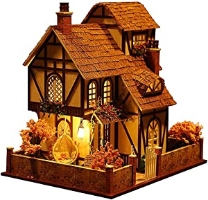 Rylai 3D Puzzles Miniature Dollhouse DIY Kit w/ Light -Flower Town Series Dolls Houses Accessories with Furniture LED Music Box Best Birthday Gift for Women and Girls