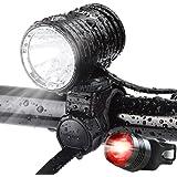 AUOPRO LED自転車ライト USB充電式 IPX-6防水 1200ルーメン 超高輝度 CREE XM-L2 4400mAhバッテリー 自転車前照灯 アウトドア専用 テールライト付き