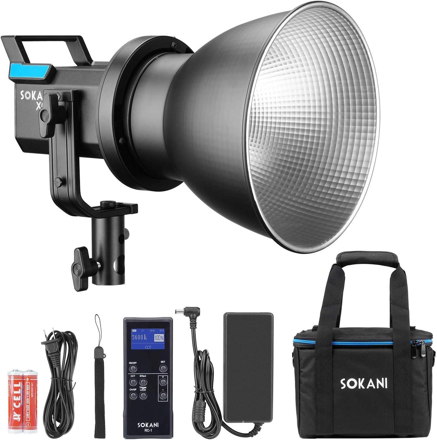 80W 5600K Daylight Balanced CRI96 Bowens Mount Sokani X60 with Bag Kit COB LED Video Light 5 Pre-Programmed Lighting Effect Wirelessly Adjust Brightness TLCI 95