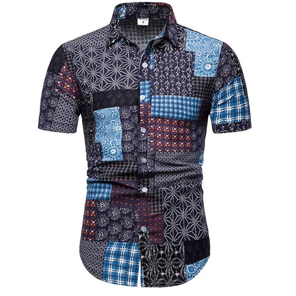 TC34-blue,5XL QHF Mens Hawaiian Printed Shirt Mens Summer Beach Short Sleeve Shirts Casual