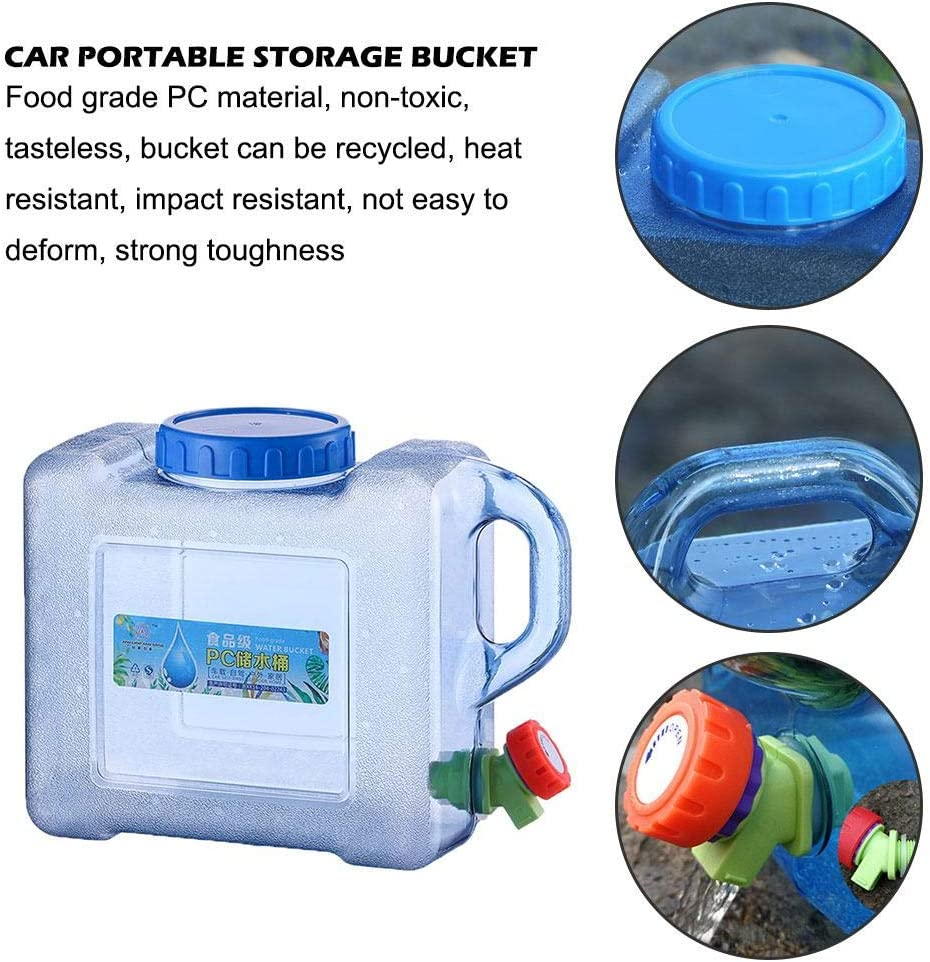 BPA Free Water Tank for Vehicle Camping Outdoor Long Travel 5L 5L//8L Portable Water Canister with Handle and Fixed Drain Tap