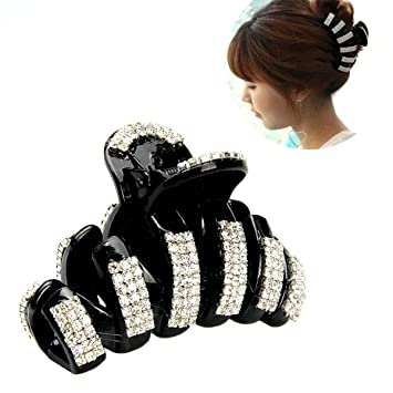 Beautiful Black White Cute Butterfly Acrylic Crystal Rhinestone Large Hair Clamp