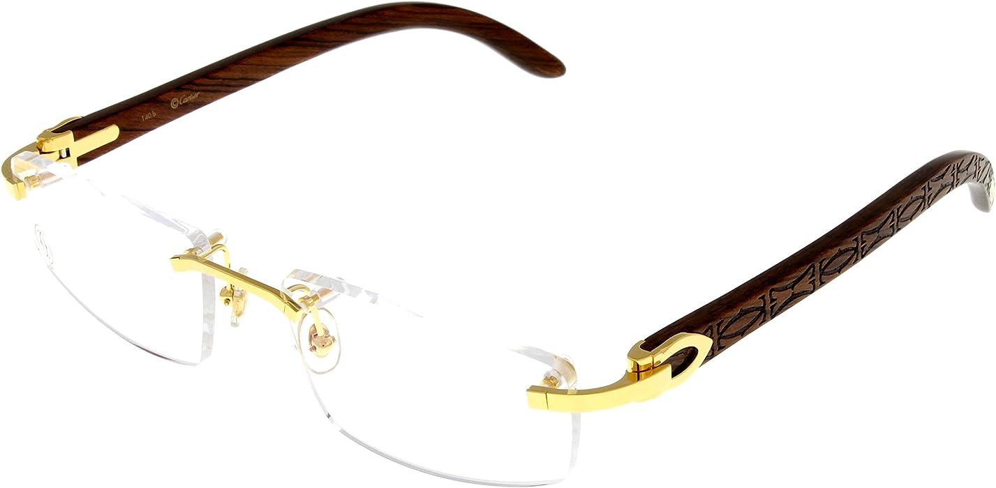 4650a7ab22 Amazon.com  Cartier Prescription Eyeglasses Frame Gold Wood T8100905 ...