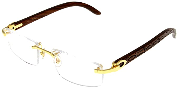 1e5dc29c7595 Image Unavailable. Image not available for. Colour  Cartier Prescription  Eyeglasses Frame Gold Wood T8100905 Rimless