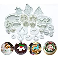 ilauke Christmas Cookie Cutters Pastry Fondant Stampers - Snowflake, Leaves, Santa Claus, Christmas Tree - Plunger…